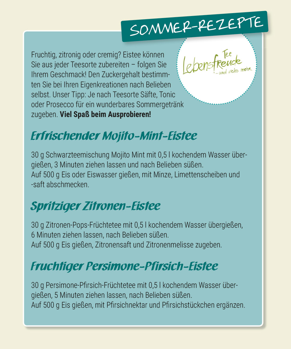 Eistee Rezepte Lebensfreude Teeladen Donauwörth 2017 Sommer Sommergetränk