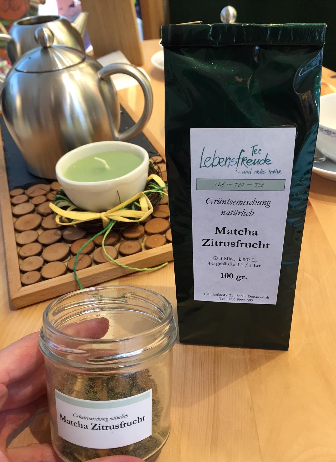 """Unser Tee des Monats im April: Grünteemischung """"Matcha Zitrusfrucht"""""""